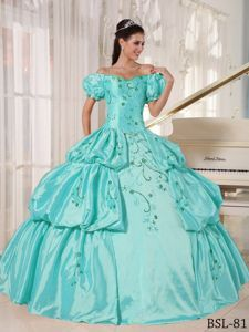 Off The Shoulder Short Puff Sleeves Cyan Quinceanera Dress