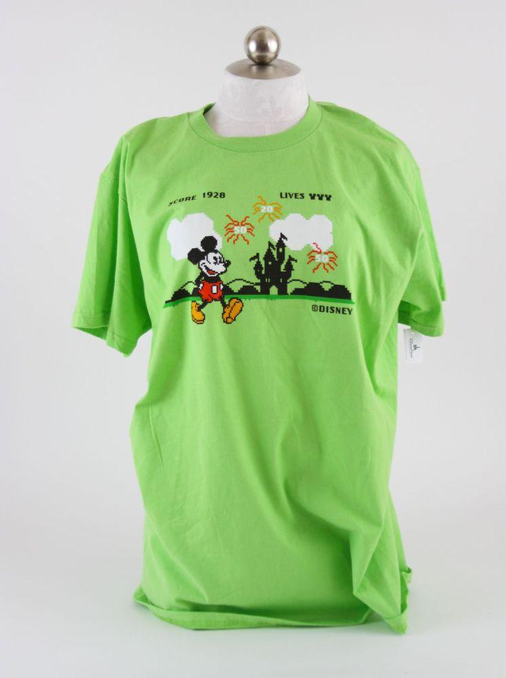 Disneyland Walt Disney World Mickey Mouse Video Game T-Shirt Green L NWT #Disney #ShortSleeve