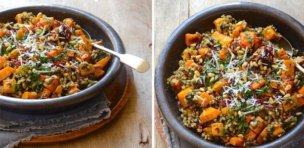 Roast butternut and Swiss chard barley risotto