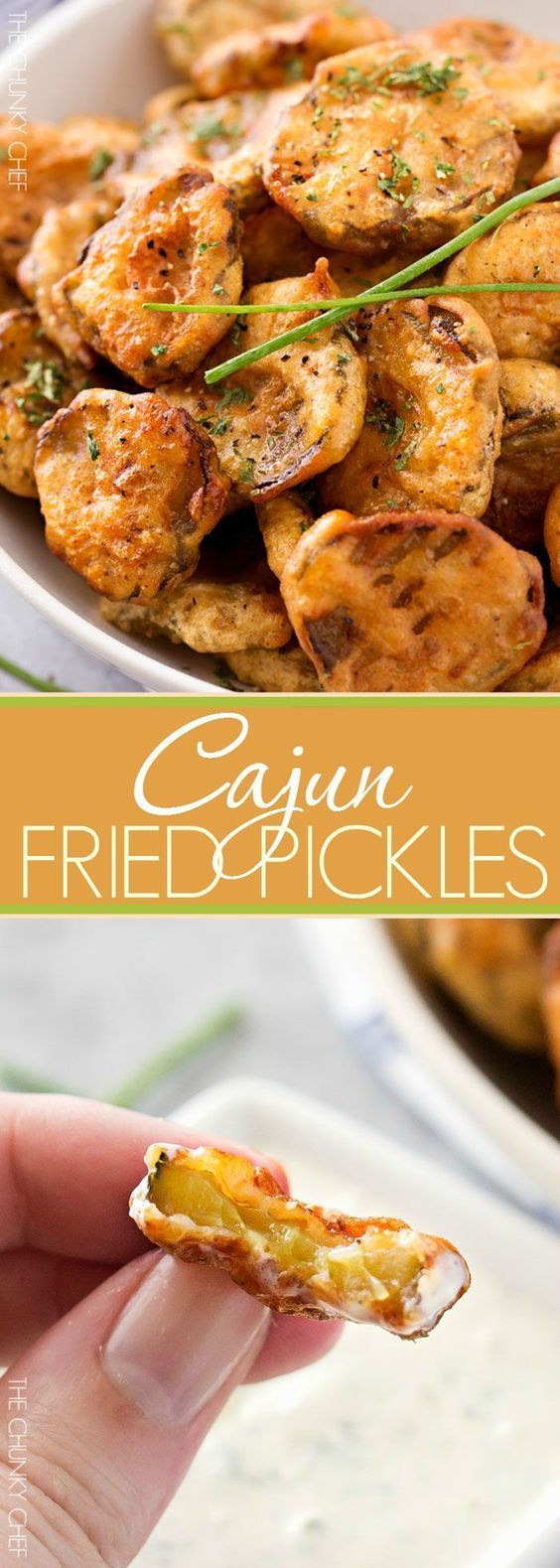 Cajun Fried Pickles with Garlic Blue Cheese Dip | Dill pickles are soaked in a Cajun buttermilk batter, fried until crispy, then dipped in a mouthwatering garlic blue cheese dipping sauce! | http://thechunkychef.com