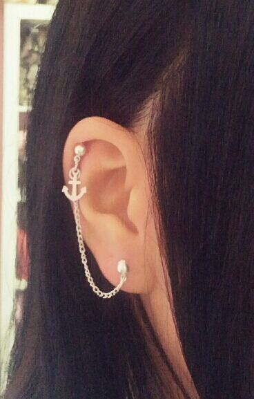 Tiny Anchor Cartilage Chain Earring by SimplyyCharming on Etsy, $6.50