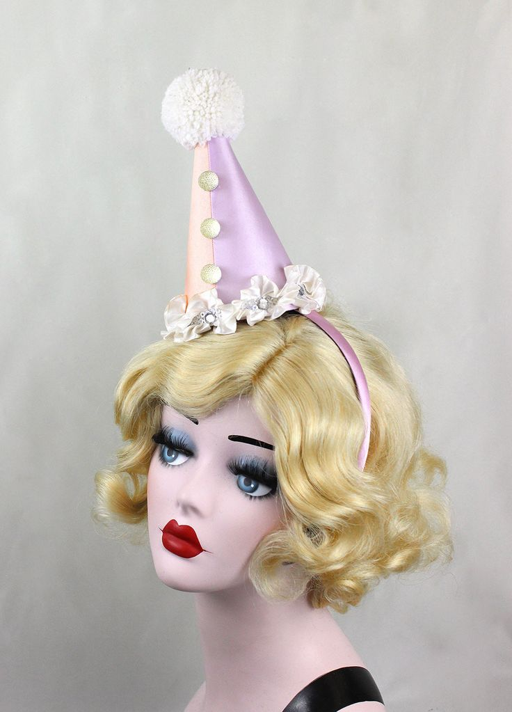 Ready to Ship, Clown Hat, Circus Costume, Burlesque, Retro,Halloween Costume, Party Hat, Birthdays, Pink, Blue, Kids, Adults