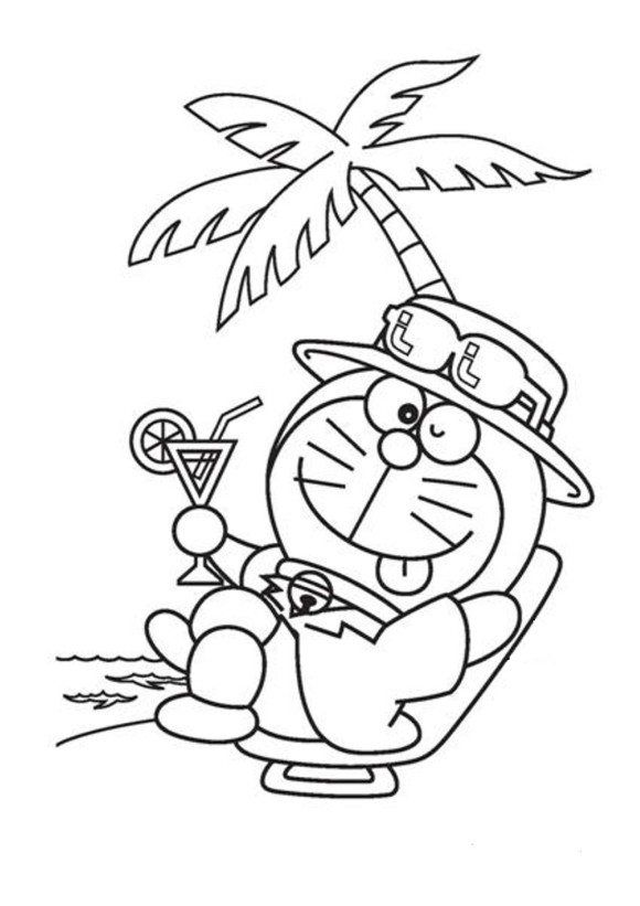 Cartoon Coloring Relaxing Doraemon Cartoon Coloring Pages