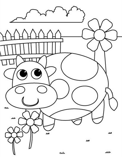 preschool coloring pages cow