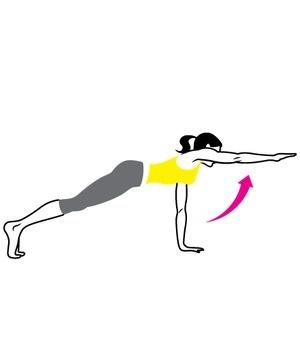 2.Hareket: Karın kasları, sırt, kollar, göğüs ve omuzları çalıştırır Omuz genişliğinden daha fazla açılmış ayaklarınızın üzerinde yükselerek şınav pozisyonu alın. Sağ kolunuzu kaldırın ve Süperman gibi ileri uzatın. Hemen yerdeki kolunuzla şınava başlayın ve sonra diğer tarafla devam edin. Hareketi her iki tarafınızda 12 ila 15 kez tekrarlayın.
