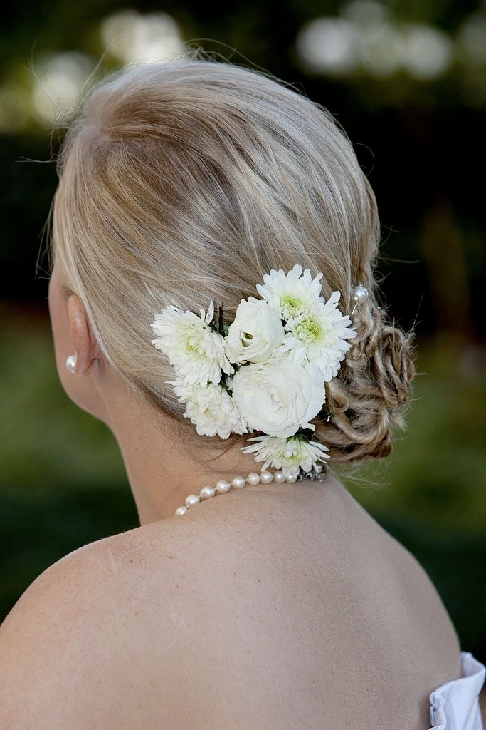 #Backhairstyle side twist bun with pearl pins and flowers