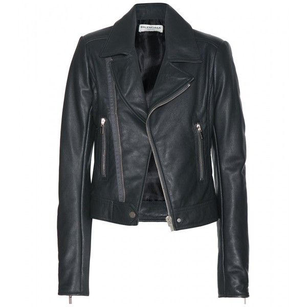 Balenciaga Leather Biker Jacket (67.500 UYU) ❤ liked on Polyvore featuring outerwear, jackets, leather jackets, coats, tops, grey, gray leather jackets, leather moto jackets, biker jackets and moto jackets