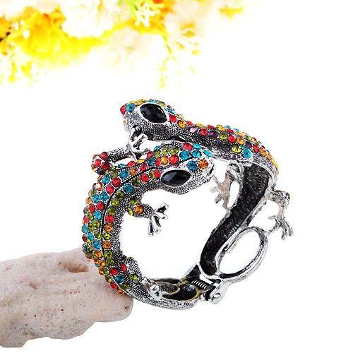 Bracelet - lizard design, alloy and red blue green rhinestones $30