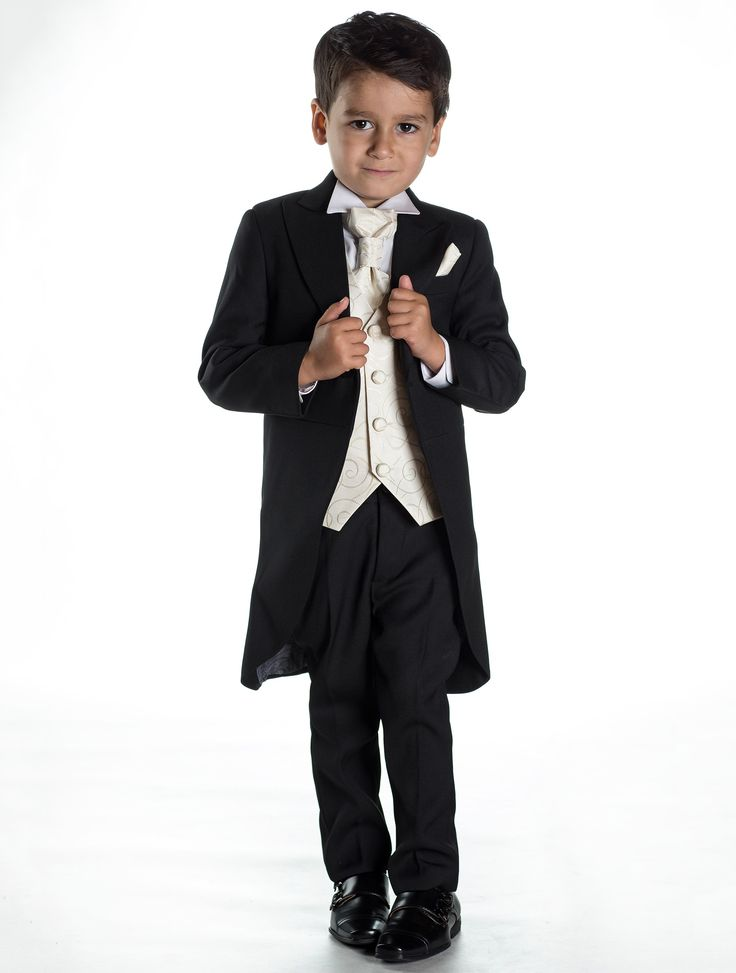A finely tailored boys black tail suit with complementing ivory waistcoat, cravat and pocket square. http://www.paisleyoflondon.co.uk/stockists/