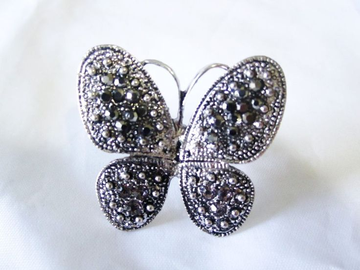 Gorgeous Stylish Butterfly Brass Silver BlackTone Adjustable CZ Ring White