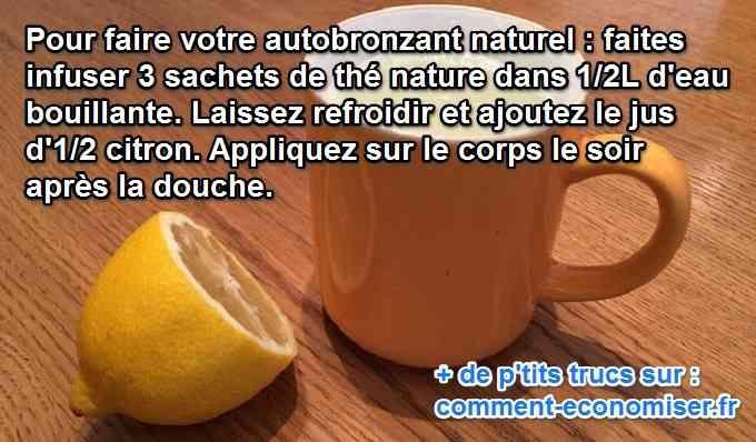 Envie d'avoir un joli teint doré sans vous exposer au soleil ? Il n'est parfois pas possible de bronzer naturellement. Alors, pour cela il existe un autobronzant naturel :-)  Découvrez l'astuce ici : http://www.comment-economiser.fr/autobronzant-citron.html?utm_content=buffer0050b&utm_medium=social&utm_source=pinterest.com&utm_campaign=buffer