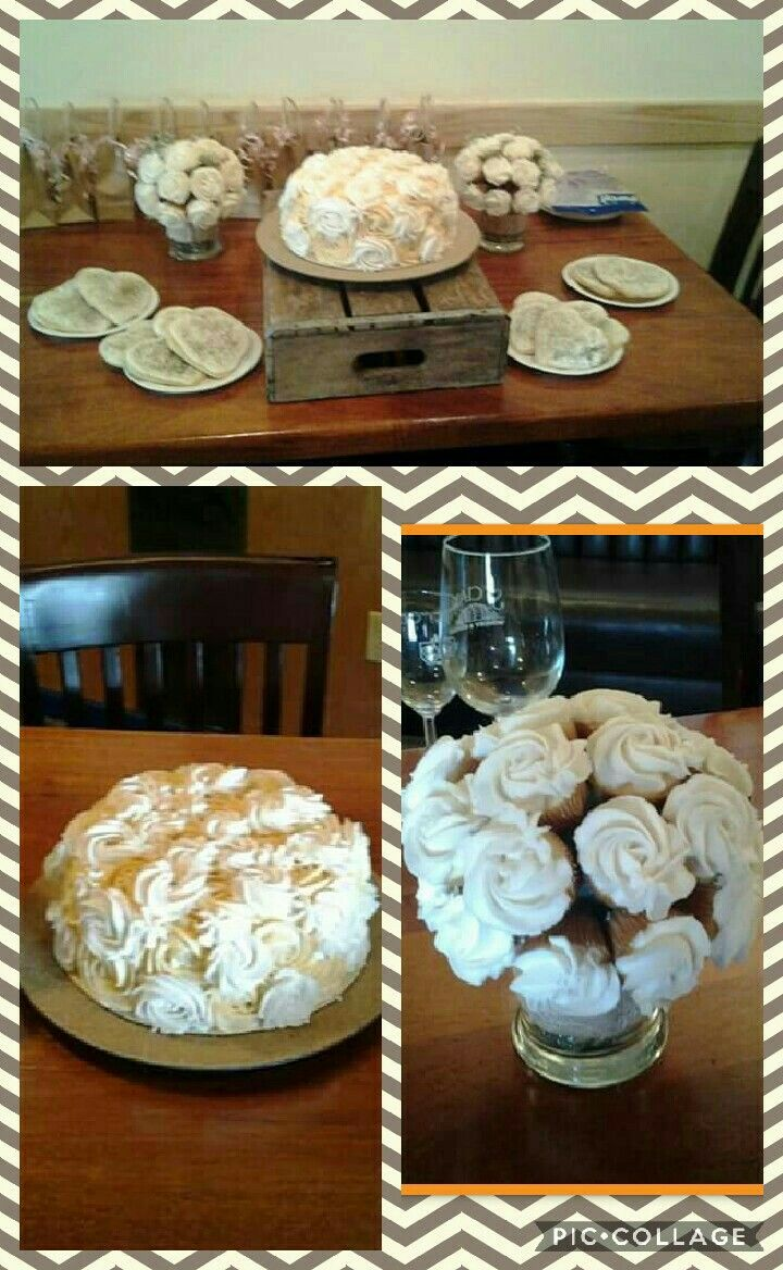 Burlap and lace bridal shower. Mini cupcake bouquets, heart shaped sugar cookies, rosette cake.