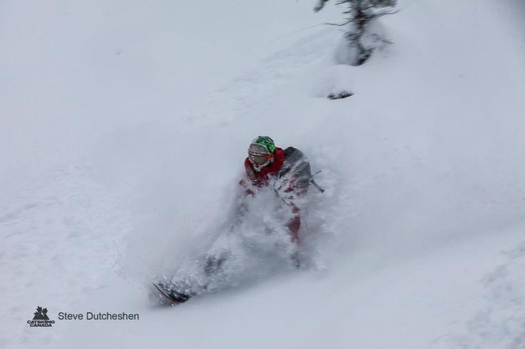 Snowboarding at Revelstoke's Mustang Powder Catskiing