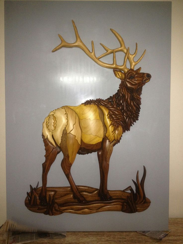 Majestic elk wooden
