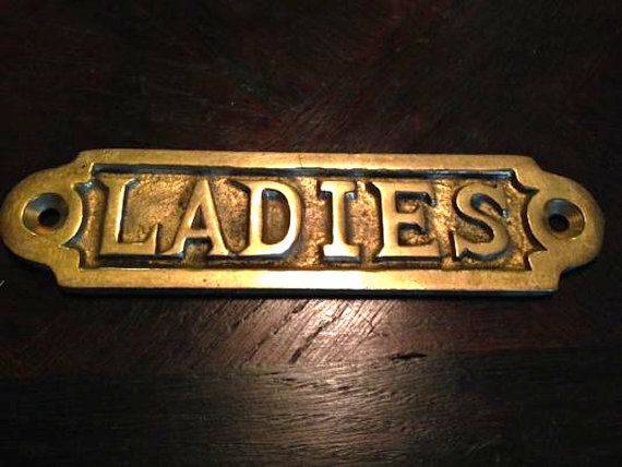 Antique Brass Ladies Room Sign Hardware Mount DIY Furniture Repurpose  Vintage Bathroom Girls RoomSupplies