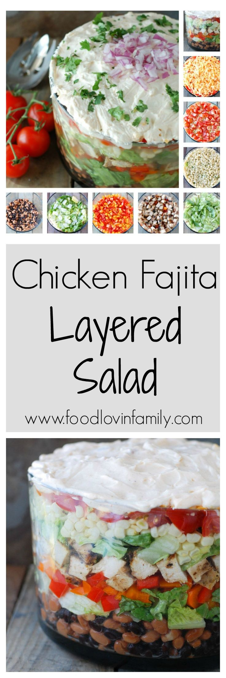 Chicken Fajita Layered Salad | http://www.foodlovinfamily.com/chicken-fajita-layered-salad/Chicken Fajita Layered Salad | Beautiful layerd chicken fajita layered salad is a twist on the classic. The layers include beans, chicken, lettuce, cheese, tomatoes, corn, peppers, and a creamy dressing.