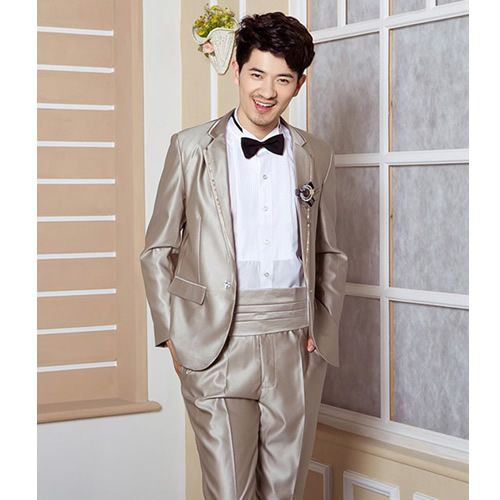 Camel Satin Slim Fit Wedding Best Man Prom Dress Suit Tuxedo Store SKU-123039