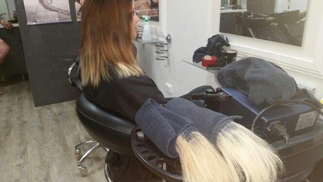 Dip dye hair extensions before