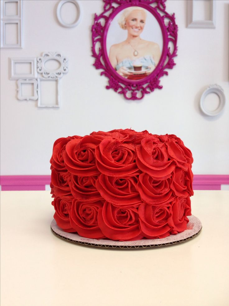 Red Rose Cake by Goodie Girls. Elegant Rosette Cake! Tea Party Cake, Birthday Cake, Wedding Cake and more!