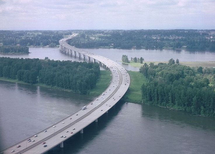 Glenn Jackson Bridge (aerial):  Is a segmental bridge that spans the Columbia River between Vancouver, Washington and Portland, Oregon.
