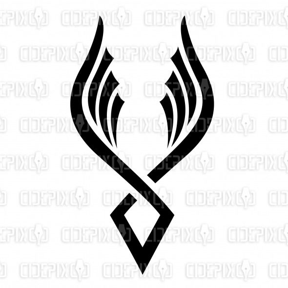 abstract minimal phoenix bird images | Abstract Cartoon of Black Wings and Bird Icon stock vector ...