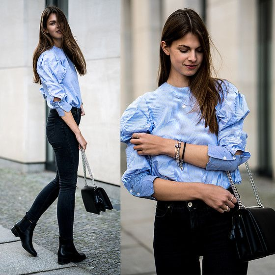 Jacky - Zara Shirt, Lee Jeans, Marks & Spencer Boots - Striped Shirt