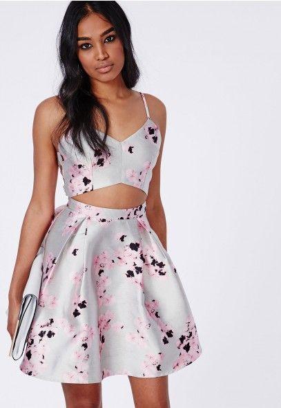 Floral Cut Out Skater Dress Silver - Dresses - Skater Dresses - Missguided