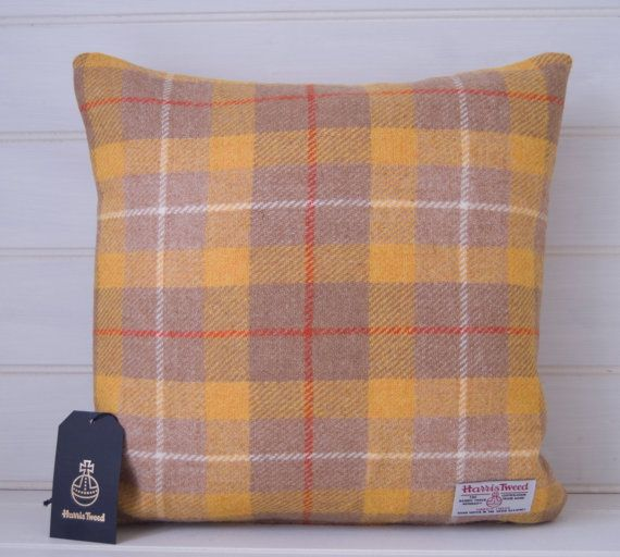 Harris Tweed Yellow and Beige Cushion Cover  Plaid by GreenCallow
