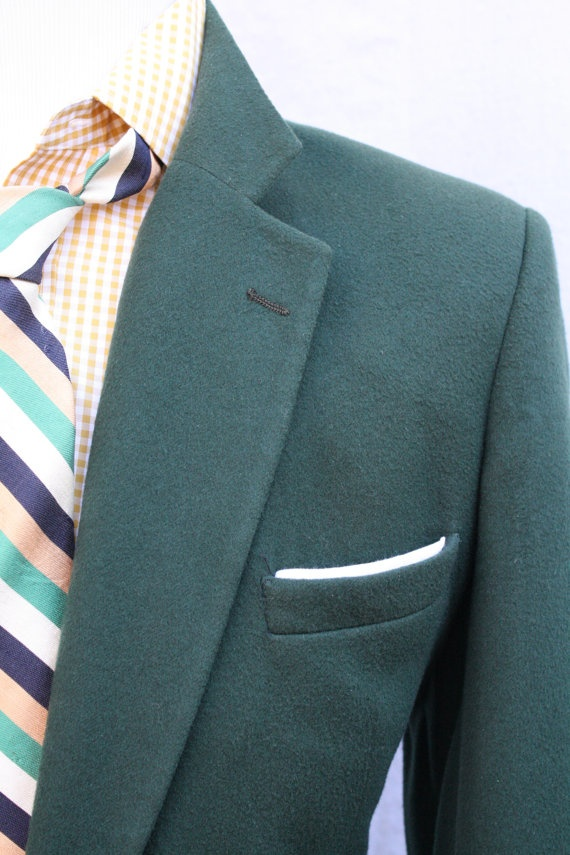 Just in time for St Patricks Day! Vintage Mens Green Cashmere Sportcoat by ViVifyVintage