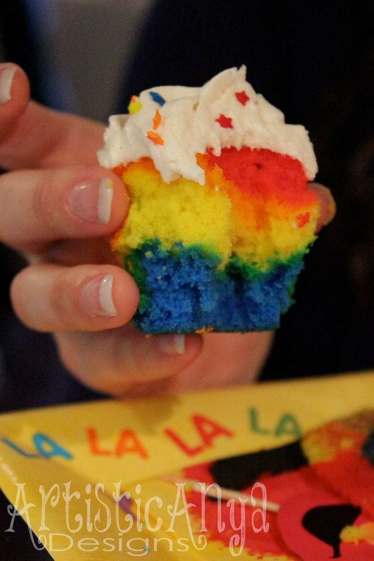 {Artistic Anya Designs} Elmo & Sesame Street 1st Birthday-Rainbow Cupcakes with Vanilla Almond Buttercream frosting
