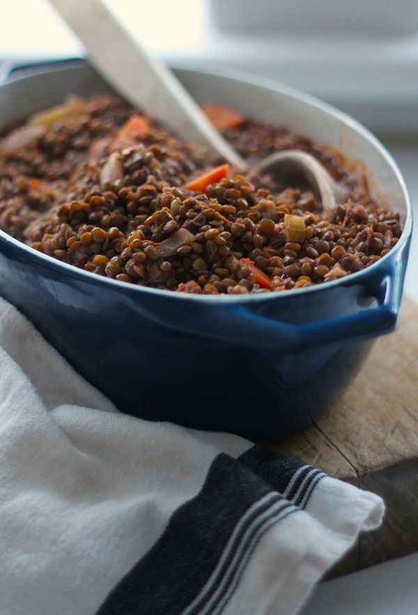 Lentils Stewed in Tomatoes and Red Wine | Kitchen Vignettes