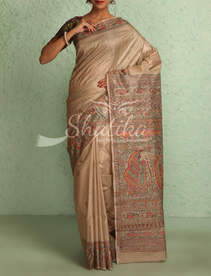 Vandita Natural Raw Silk Color With Intricate Handpainted Border Pallu Madhubani Silk Saree