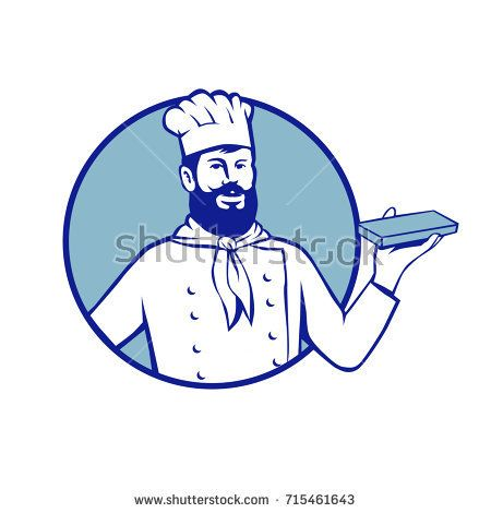 Retro style illustration of Hipster Baker chef cook Holding up Chocolate Block set inside circle on isolated background.  #baker #retro #illustration