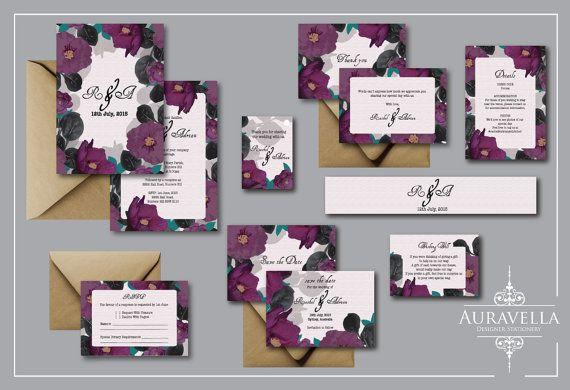 Floral wedding invitation suite. wedding Invitation Set. Purple floral. Floral invitation. Save The Date. Printable .Flower Wedding Invite