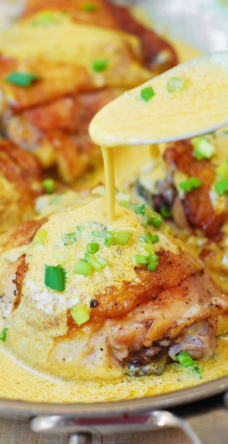 Chicken Dijonnaise, or chicken thighs with a creamy pan sauce (made with mustard, heavy cream, white wine or chicken stock).  Easy, delicious, one-pot dish! #BHG #sponsored