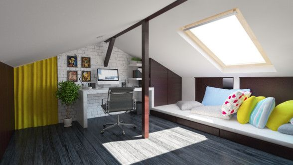 Attic interior design and rendering by Puncto.ro