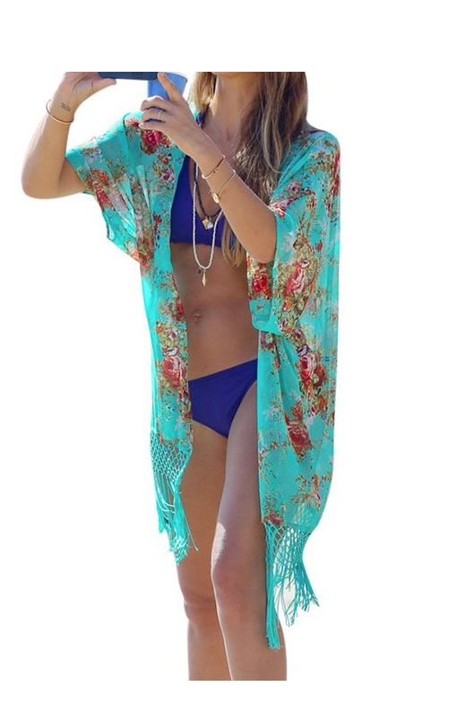 2016 Summer Women Floral Printed Beach Cover Up Sexy Long Bathing Suit Cover-up Chiffon