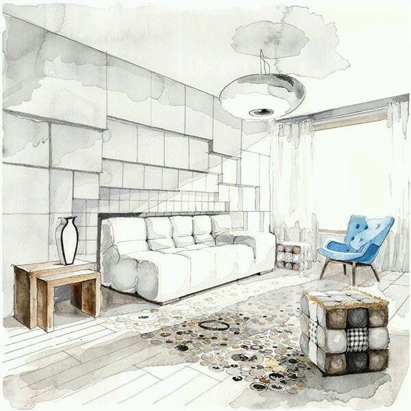Modern Living Room Sketches 18 best hand rendering images on pinterest