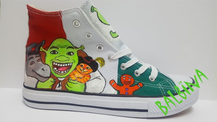 Shrek with friends   - hand painted trainers  https://web.facebook.com/Balbina-R%C4%99cznie-malowane-buty-i-ubrania-hand-painted-shoes-and-clothes-849793331796229/?ref=aymt_homepage_panel