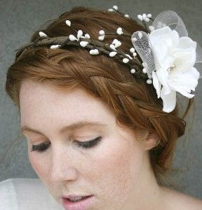 A wreath is part of traditional Polish wedding attire.