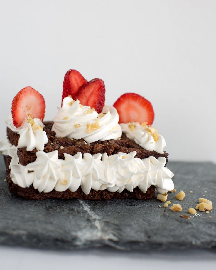 Brownie Waffles with Whipped Cream & Strawberries