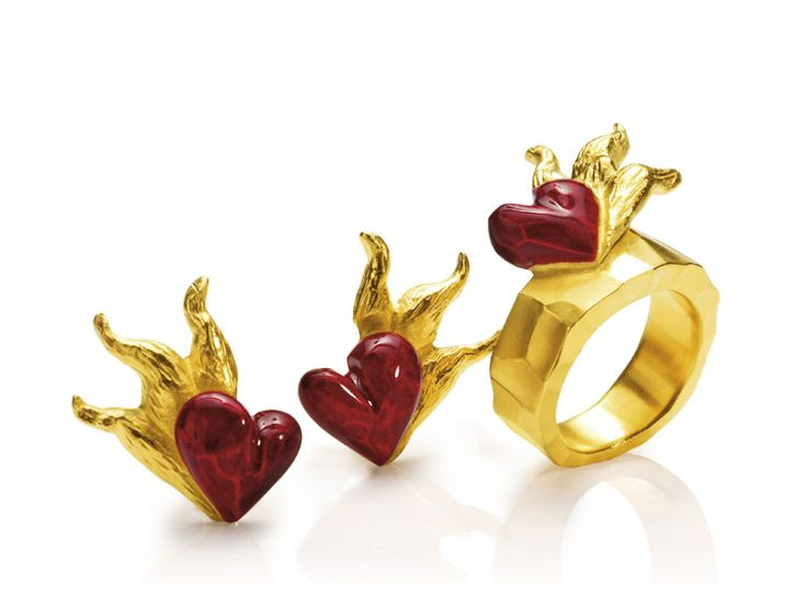 Gold-plated silver Varnished blazing heart Ring and Earrings