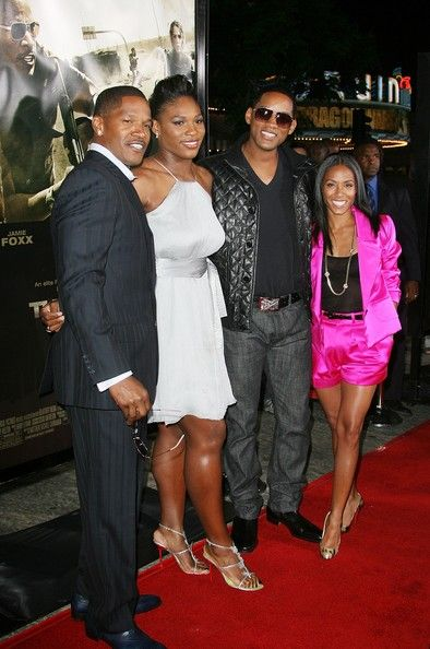 """(L-R) Actor Jamie Foxx, Serena Williams, actor Will Smith and actress Jada Pinkett Smith attend 'The Kingdom' film premiere at the Mann's Village Westwood theatre on September 17, 2007 in Los Angeles, California. - Universal Pictures' Premiere Of """"The Kingdom"""" - Arrivals"""
