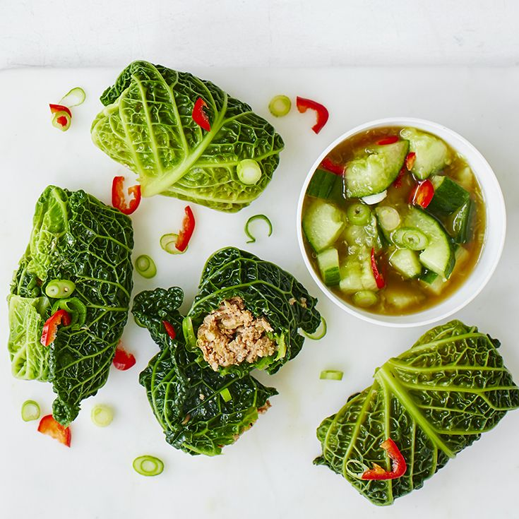 Pork-stuffed cabbage leaves with smashed cucumber and fiery Korean chilli, Gochujang. Serve with steamed rice, a scattering of chilli and salad onions. View more healthy recipes on the Waitrose website.