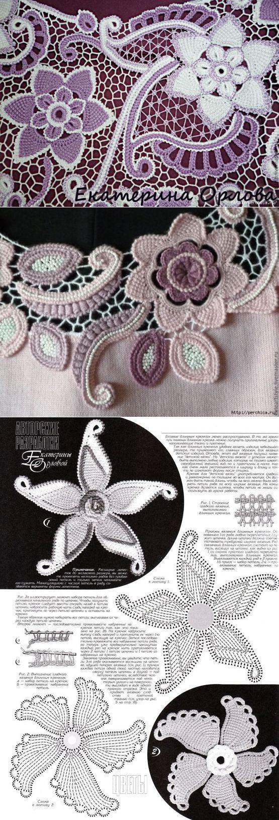 Цветы тунисской техникой в ирландском вязании - схемы | Ирландское кружево. | Постила