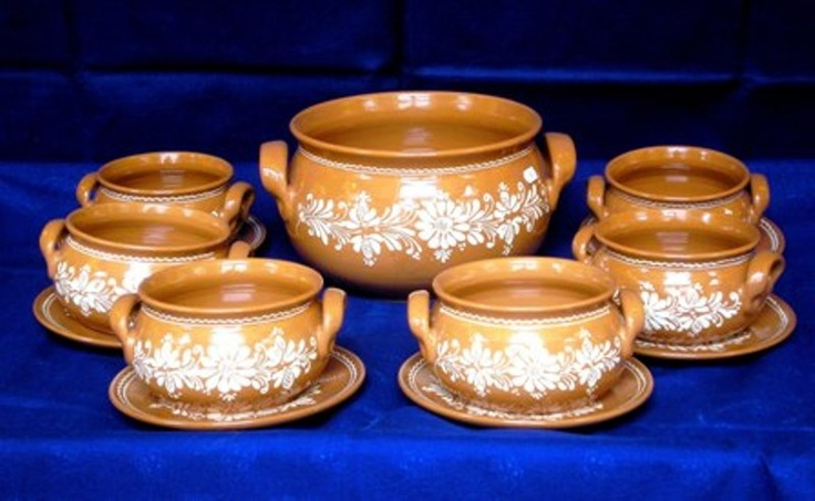 Hungarian fish soup ceramic set.