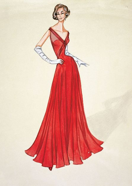 "1950. Drawing from Valentino Garavani. ""I start everything with a drawing, it is the way I think, long before I touch a pattern or cut into a fabric. All my ideas come from the pencil."""