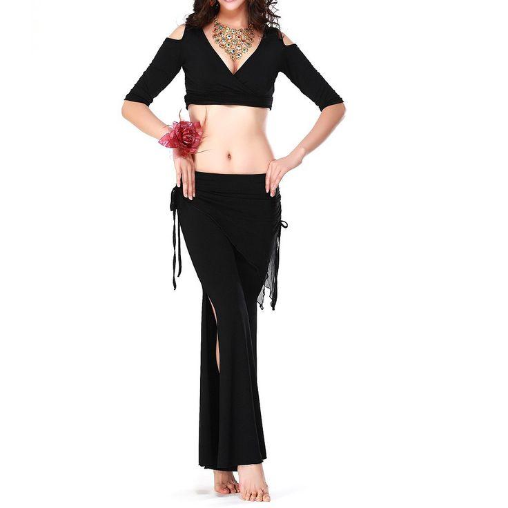 Danse du ventre costume sexy manches courtes top + lait soie taille pantalon 2 pcs/costume pour la danse du ventre ensemble noir Bleu Rose rouge Jaune rouge dans Danse du ventre de Nouveauté et une utilisation particulière sur AliExpress.com | Alibaba Group