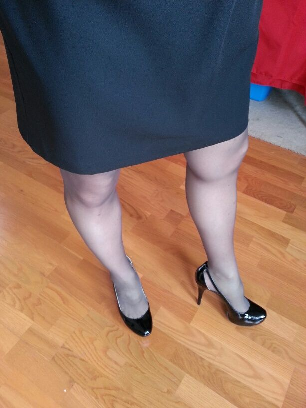 Crossdresser Heels And Skirt Black Skirt Heels And Hose