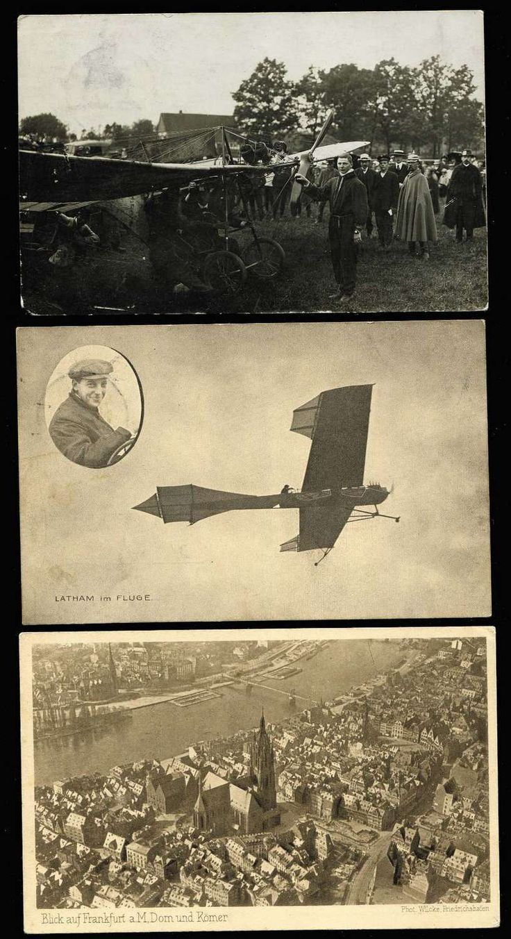 PIONEER AVIATOR PPCS OF THE WORLD Germany Postcards: 1909-29 monochrome ex noted with 1909 Latham im Fluge, 1911 Die Taube, 1912 unknown machine etc, 1913 Hoffmann auf Harlan-Eindecker full colour. Plus c1905 Zeppelin II over Cologne Cathedral, undated Zeppelin aerial view of Frankfurt am Main (sepia tone), 1929 plain postcard with 2Rm Zeppelin tied May 15th Friedrichhafen cds and with New York cds Aug 5 1929 (strange). (7)  Anbieter Phoenix Auctions  Saalauktion Ausruf: 135.00 AUD